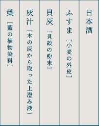 日本酒 ふすま [小麦の外皮] 貝灰 [貝殻の粉末] 灰汁 [木の灰から取った上澄み液] 蒅 [藍の植物染料]